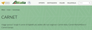 Carnet Voli Alitalia